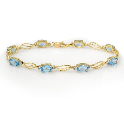 ACA Certified 8.02ct Diamond & Blue Topaz Bracelet Gold