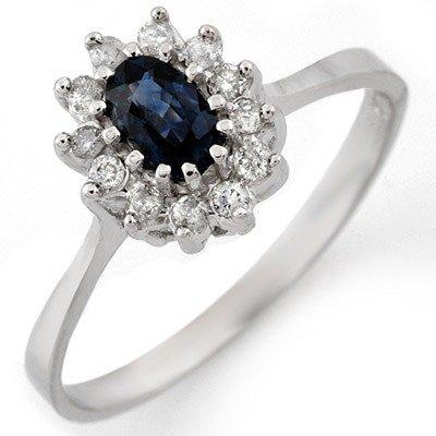 Fine 0.60ctw Diamond & Blue Sapphire Ring