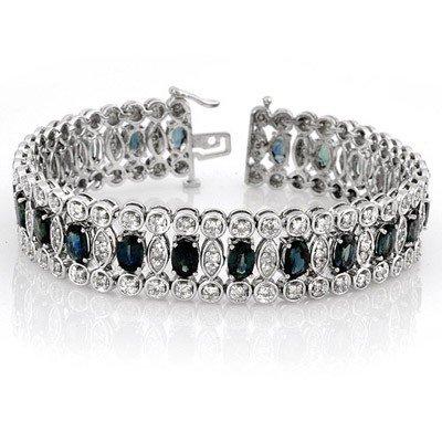 Bracelet 18.50ct Certified Diamond & Blue Sapphire 14K
