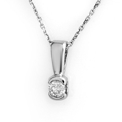 Solitaire 0.25ctw Diamond Necklace 14K White Gold