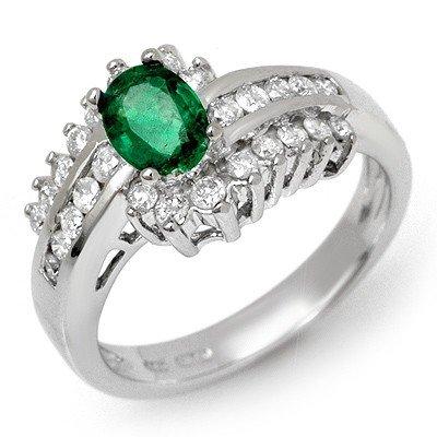 ACA Certified 1.45ctw Diamond & Emerald Ring 14K Gold