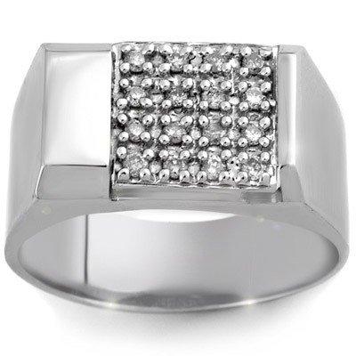 ACA Certified 0.50ctw Diamond Men's Ring White Gold