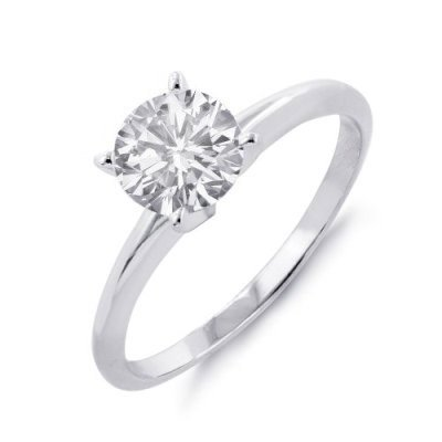 Sparkling 1.0 ct Solitaire Engagement Ring 14KW Gold