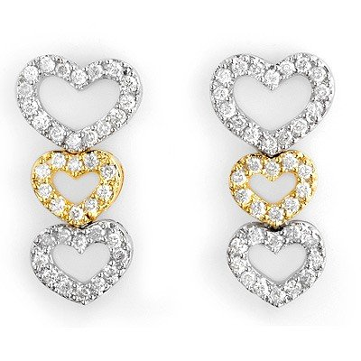Fine 1.25ctw ACA Certified Diamond Heart Earrings 14K