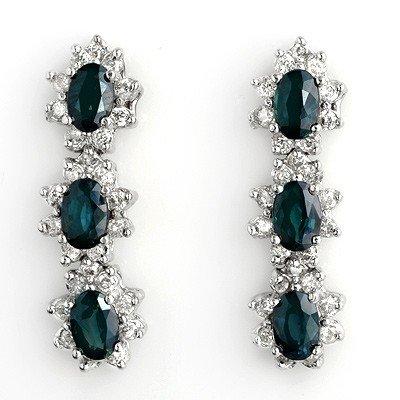 Certified 5.88ct Diamond & Sapphire Earrings 14K W Gold