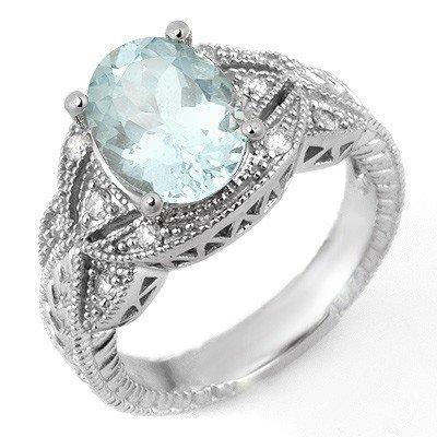 Fine 3.25ctw ACA Certified Diamond & Aquamarine Ring