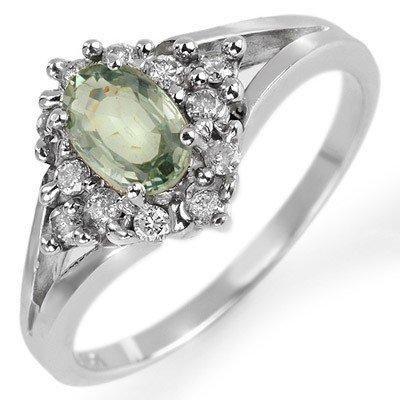 Fine .95ctw ACA Certified Diamond & Green Sapphire Ring