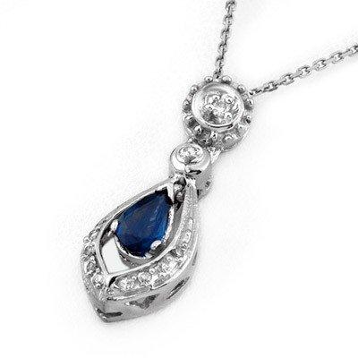 ACA Certified 0.53ctw Diamond & Blue Sapphire Necklace