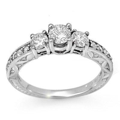 ACA Certified .95ct Diamond Anniversary Ring White Gold