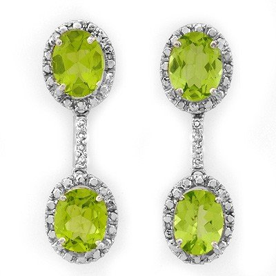 ACA Certified 8.10ctw Diamond & Peridot Earrings Gold
