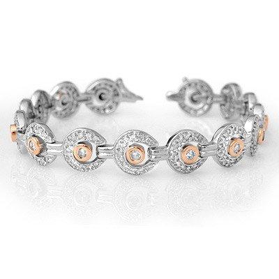 ACA Certified 4.0ct Diamond Bracelet 14K Two-Tone Gold