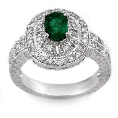 ACA Certified 1.58ctw Diamond & Emerald Ring White Gold