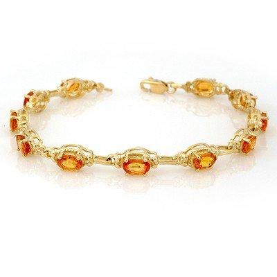 Genuine 8.0 ctw Yellow Sapphire Bracelet 10K Yellow Gol
