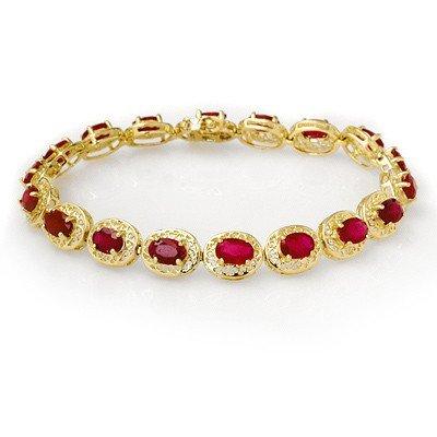 Genuine 12.75 ctw Ruby Bracelet 10K Yellow Gold