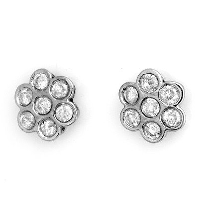 Natural 1.80 ctw Diamond Stud Earrings 14K White Gold
