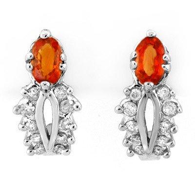 Genuine 0.90ctw Orange Sapphire & Diamond Earrings Gold