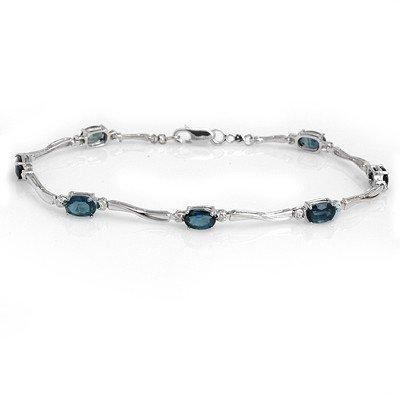 Genuine 5.02 ctw Sapphire & Diamond Bracelet 10K Gold
