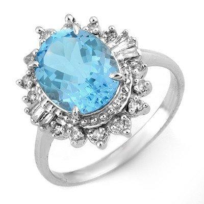 Genuine 3.95 ctw Blue Topaz & Diamond Ring White Gold