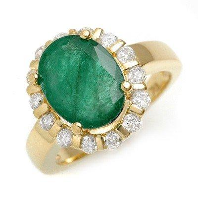 Genuine 4.65 ctw Emerald & Diamond Ring 10K Yellow Gold
