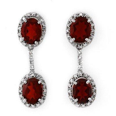 Genuine 8.10 ctw Garnet & Diamond Earrings White Gold