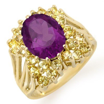 Genuine 5.0 ctw Yellow Sapphire & Amethyst Ring Gold
