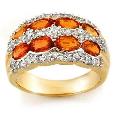 Genuine 3.75ctw Orange Sapphire & Diamond Ring 14K Gold