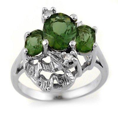Genuine 3.06ct Green Tourmaline & Diamond Ring 10K Gold