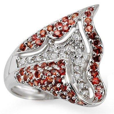 Orange Sapphire & Diamond 2.50 ctw Ring 14K White Gold
