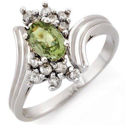 Genuine 1.0ctw Green Sapphire & Diamond Ring 10K Gold