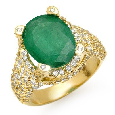 Genuine 7.5 ctw Emerald & Diamond Ring 14K Yellow Gold