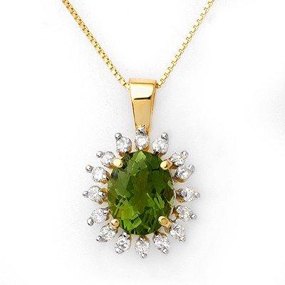 Genuine 3.55ct Green Tourmaline & Diamond Bracelet Gold