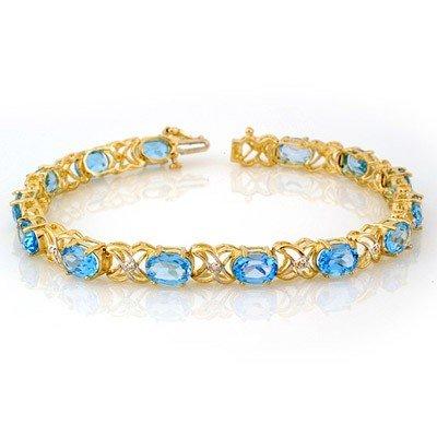 Genuine 13.55ctw Blue Topaz & Diamond Bracelet 10K Gold