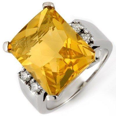 Genuine 10.88 ctw Citrine & Diamond Ring 10K White Gold
