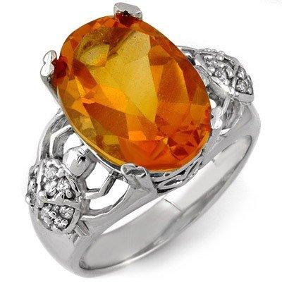 Genuine 6.20 ctw Citrine & Diamond Ring 10K White Gold