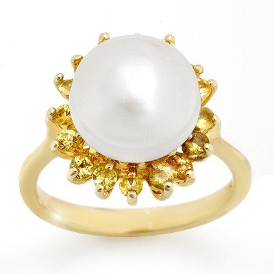 Genuine 0.75 ctw Yellow Sapphire & Pearl Ring 10K Gold