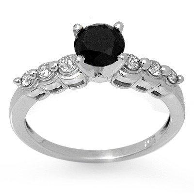 Natural 1.30 ctw White & Black Diamond Ring 14K Gold