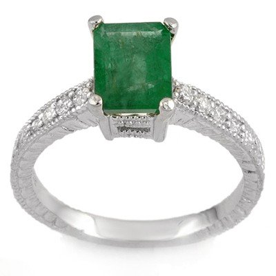 Genuine 2.15 ctw Emerald & Diamond Ring 14K White Gold
