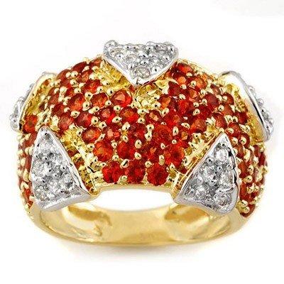 Genuine 5.0 ctw Orange Sapphire & Diamond Ring Gold