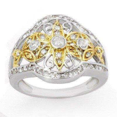 Natural 0.70 ctw Diamond Ring 10K Multi tone Gold