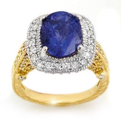Genuine 5.4ct Tanzanite & Diamond Ring 14K 2tone Gold