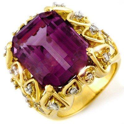 Genuine 14.4ctw Amethyst & Diamond Ring 10K Yellow Gold