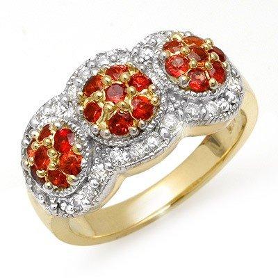 Genuine 1.50 ctw Red Sapphire & Diamond Ring 14K Yellow