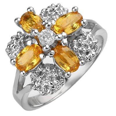 Genuine 1.33ctw Yellow Sapphire & Diamond Ring 10K Gold