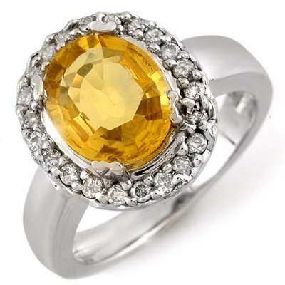 Genuine 3.4 ctw Yellow Sapphire & Diamond Ring 10K Gold