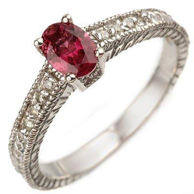 Genuine 0.66ctw Pink Tourmaline & Diamond Ring 10K Gold