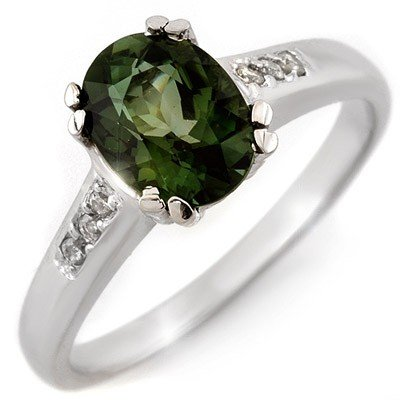 Genuine 1.60ctw Green Tourmaline & Diamond Ring Gold