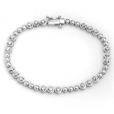 Natural 1.25 ctw Diamond Bracelet 10K White Gold