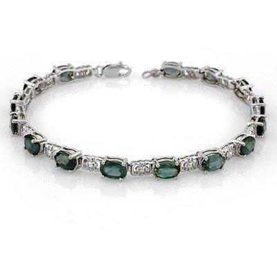 Genuine 11 ctw Blue Sapphire Bracelet 10K White Gold