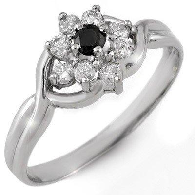 Natural 0.33 ctw White & Black Diamond Ring 10K Gold