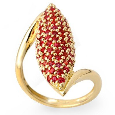Genuine 2.0 ctw Red Sapphire Ring 14K Yellow Gold